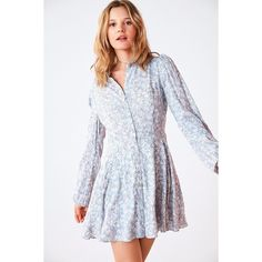 Kimchi Blue Sabrina Floral Long-Sleeve Mini Shirt Dress ($69) ❤ liked on Polyvore featuring dresses, collared shirt dress, floral fit-and-flare dresses, shirt dress, t-shirt dresses and long-sleeve floral dresses
