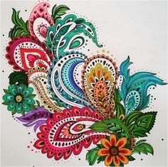 Adults Coloring Book Paisley Designs Stress Relief Mandala Henna Flowers Animals