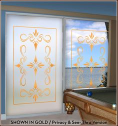 South Beach Leaded Glass with Gold Lead Lines.  Available in Privacy or See-Thru