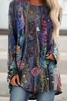 Bohemian Floral Gradient Print Raglan Sleeves Shift T-shirt Mode Outfits, Fashion Outfits, Womens Fashion, Ladies Fashion, Fashion Clothes, Trendy Outfits, Bohemian Style, Boho Chic, Mode Boho