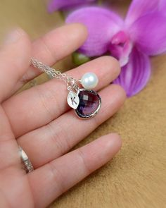 Bridesmaid Jewelry Wedding Bridal Jewelry-Bridesmaid gifts ,pearl ,leaf , purple amethyst peacock, personalized NECKLACE , monogrammed gifts on Etsy, $29.99