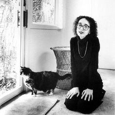 American author Joyce Carol Oates and cat