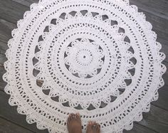 "Ecru Off White Cotton Crochet Rug in Large 41"" Circle Pattern Non Skid"