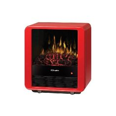 This unique and charming electric stove adds warmth and pizzazz to any room. The clean, modern lines are highlighted by the gloss red finish and louvered front panel. Realistic flames rise up from a glowing coal bed providing cozy ambiance year-round.