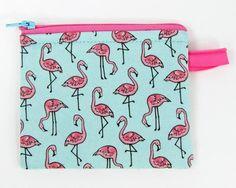 Pink Flamingo change purse credit card case business card