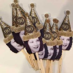 80th birthday party photo cupcake toppers