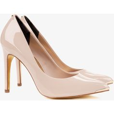 Ted Baker Pointed Leather Court Shoes (2.570 ARS) ❤ liked on Polyvore featuring shoes, pumps, heels, scarpe, nude pink, nude pink shoes, leather shoes, pink leather shoes, pointy shoes and pink pumps