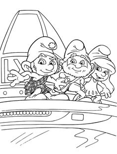 Funny Smurfs coloring pages for kids, printable free
