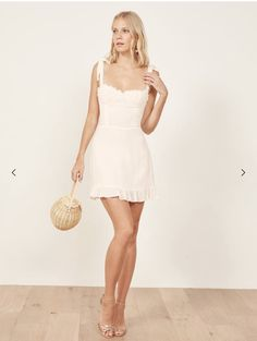 Shop the Christine mini dress from Reformation with a sweetheart neckline, ruffle edged hem, and strap ties. Grad Dresses, Cute Dresses, Skirt Outfits, Cute Outfits, Summer Outfits, Summer Dresses, Going Out Outfits, Dress To Impress, Korean Fashion