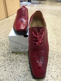 New Men's Amali Red Dress Shoes with Laces Style 206-005 -US Sizes - See Photos #Amali #Laces