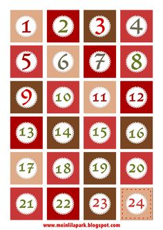Free printable Christmas advent calendar numbers and borders - ausdruckbare Adventszahlen - freebie | MeinLilaPark – digital freebies