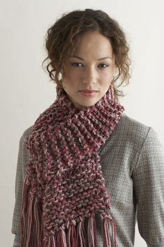 Knit Two Hours or Less Scarf @lionbrandyarn  | FaveCrafts.com