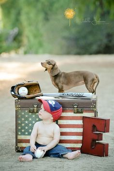 Adorable baby photo with baseball, american flag and family pet
