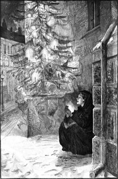 'She lighted a new match. Then she was sitting under a beautiful christmas tree, with thousands of candles burning upon the green branches' Illustration by Hans Tenger from The Little Match Girl – The Golden Age of Illustration Series The Little Match Girl, A Christmas Story, Christmas Art, Rwby, Sad Fairy, Sad Angel, Princess And The Pea, Beautiful Christmas Trees, Children's Book Illustration