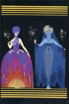 "Original Vintage ERTE ART DECO PRINT ""EVENING, NIGHT"" Fashion Book Plate"