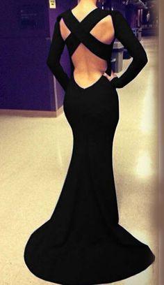 Buy Black Long Sleeve Cross Backless Maxi Dress from abaday.com, FREE shipping Worldwide - Fashion Clothing, Latest Street Fashion At Abaday.com