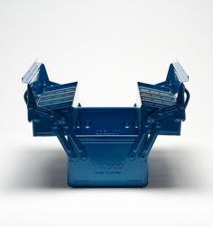 The rugged Trusco Tool Box is an instant classic. Manufactured of stamped and enameled steel, it features a unique hinged lid and removable dividers that allow for a range of tools and uses. Made in Japan. Garage Tools, Garage Workshop, Steel Tool Box, Garden Tool Storage, Cool Tools, Cool Stuff, Stuff To Buy, Hacks, Patio