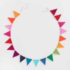 Multicolor Felt Triangle Flag Garland - v1