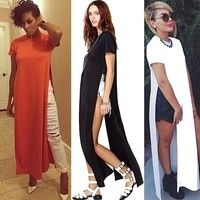 Wish | Maikun Foreign trade explosion models in Europe and America fashion sexy party dress slit skirt strap factory direct