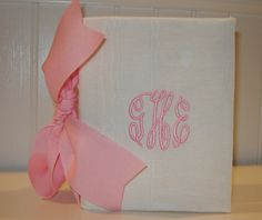 Cream Moire 100 Photo Album with Large Pink Bow by doodlebugsga, $12.50 Purchase at www.doodlebugsga.etsy.com