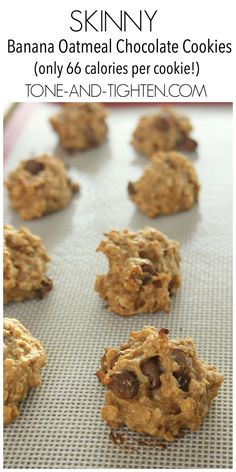 Skinny Banana Chocolate Oatmeal Cookies on Tone-and-Tighten.com - only 66 calories per cookie!