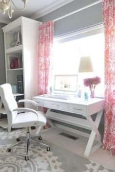 Pretty and classy home office ideas for women - love the pink accents and color combos in this work from office!