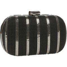 Whiting  Davis Women's Bubble Mesh and Flat Striped Minaudiere, Black/Pewter - http://www.besthandbagsdeals.co/evening-bags/whiting-davis-womens-bubble-mesh-and-flat-striped-minaudiere-blackpewter/ #And, #Black, #Bubble, #Davis, #Flat, #Mesh, #Minaudiere, #Pewter, #Striped, #Whiting, #Womens