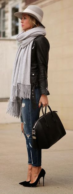 Grey Fringe Wrap Scarf with Leather Black Jacket and Jeans.