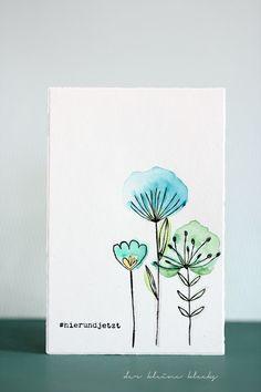 """der kleine klecks Frühling und Aquarell Blumenkarte - flower card Gansai Tambi 36er Farbkasten Blumenstempel - Sketched Blooms - My Favorite Things #hierundjetzt aus dem Klartext-Stempelset """"Hashtag"""" von danipeuss"""