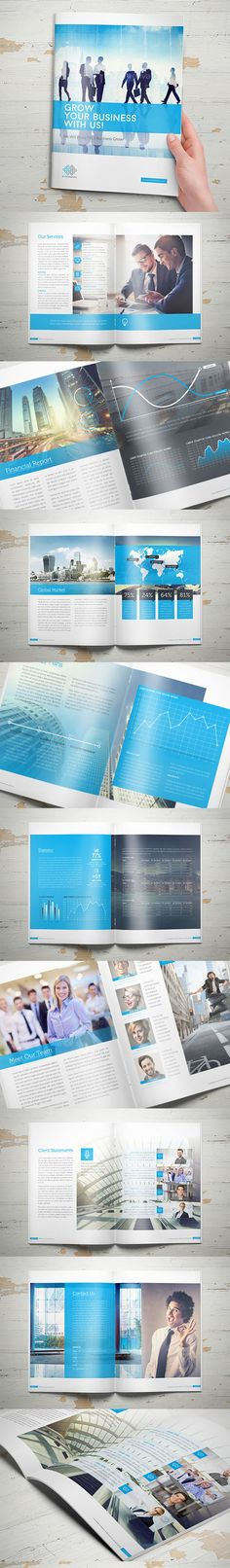 Blue Corporate Brochure Design                                                                               More