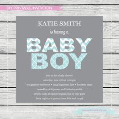 Baby Shower Invitation with decorative letters  by SouthernSwish, $15.00