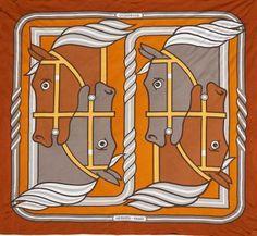HERMES Foulard en soie- jersey. «Quadrige» Ton ocre jaune, orange Signé P. Péron