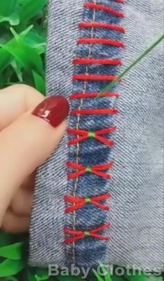 Hand Embroidery Videos, Summer Jeans, Diy Home Crafts, Crafts For Teens, Hand Sewing, Crochet, Crafty, My Love, Baby