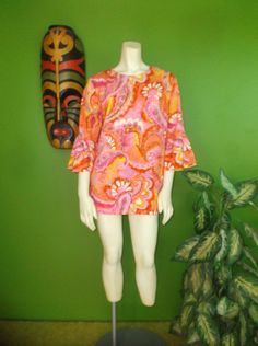 Groovy '60's Psych Print Bell Sleeve Micro Mini by TrixiesTikiTogs, $28.00