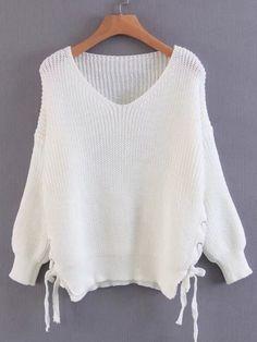 Shop Lace Up Side Drop Shoulder Sweater online. SheIn offers Lace Up Side  Drop Shoulder 89b69ce1a479