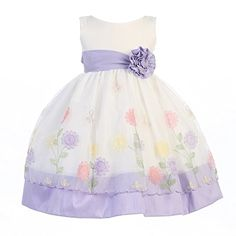 1ed530a8773 Lito Little Girls Lilac Organza Poly Silk Trims Flower Girl Easter Dress