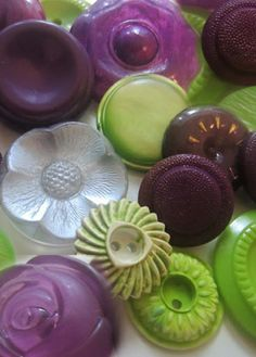 Pretty mix of purple and lime green buttons