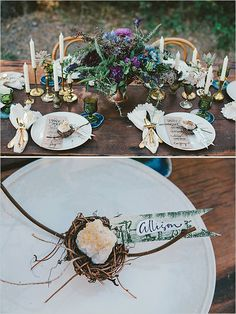 birds nest decor | amber escort cards | boho chic wedding ideas | #weddingchicks