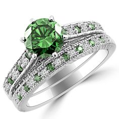 Jewelry Point - 2.01ct VS2 Green Diamond Matching Engagement Ring Set Antique, $6,390.00 (http://www.jewelrypoint.com/2-01ct-vs2-green-diamond-matching-engagement-ring-set-antique/)