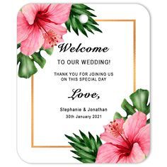 The perfect favor decoration or gift tag for weddings and engagements.The design depicts a vibrant bouquet of tropical botanicals and hibiscus. This gift tag can be personalised. #gifttags #favortags #favourtags #thankyoutags #partyfavors #partyfavours #partyideas #personalisedgifttags #partyplanning #weddingplanning #eventplanning #wedding #summerwedding #tropicalwedding #weddingideas #weddinggifttags #weddingfavour #weddingfavors #DIYwedding #DIYparty #DIYbrides #giftelements Wedding Gift Tags, Wedding Favors, Party Favors, Summer Wedding, Diy Wedding, Party Planning, Wedding Planning, Welcome To Our Wedding, Gift Labels