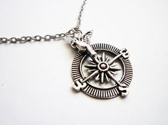 Silver Compass Necklace Bird Necklace Jewelry by RobertaValle, $12.00