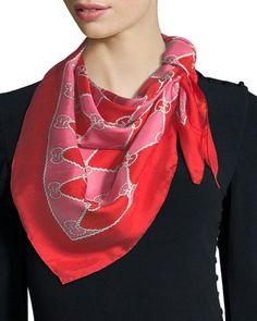 d5e4de78a317 D2ZYU Gucci GG Rhombus Chain Silk Foulard Scarf Neiman Marcus, Wraps,  Accessories, Clothes