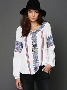 I have this....must figure out how to wear...Free People All Roads Embroidery Double V Tunic at Free People Clothing Boutique