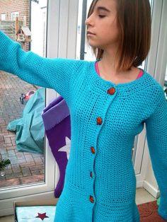 Turquoise Dream, Girl's Hand Crocheted Coat or Long Length Cardigan