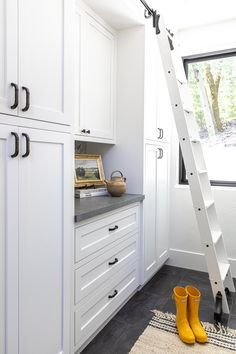 Laundry Room With Rolling Ladder Rolling Ladder, Italian Farmhouse, Granite Bay, Boutique Interior, Life Is Beautiful, Laundry Room, Interior Decorating, The Unit, Interiors