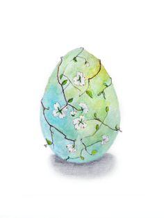 easter egg drawing original van MarionVanEgmond op Etsy, €20.00