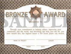 Girl Scouts Junior Bronze Award Certificate. $7.50, via Etsy.
