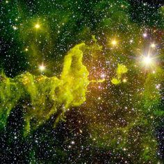 """The spider part of The Spider and the Fly"""" nebulae is seen in an infrared image taken by NASA's Spitzer Space Telescope."""