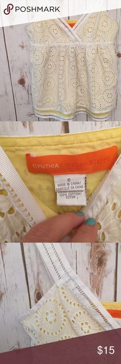 Cynthia Steffe Lace Top This top, with its beautiful lace detail is in perfect condition. Has intricate and dainty straps and yellow underlay. trim. So pretty. Cynthia Steffe Tops Blouses