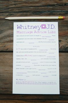 21 Awesome Wedding Games That Will Keep The Party GoingMake one for each table to fill out